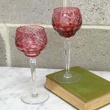 Vintage Wine Glasses Retro 1930s Bohemian Glass + Raspberry + Cut To Clear + Etched Crystal + Czech + Set of 2 + Kitchen and Bar Decor by RetrospectVintage215