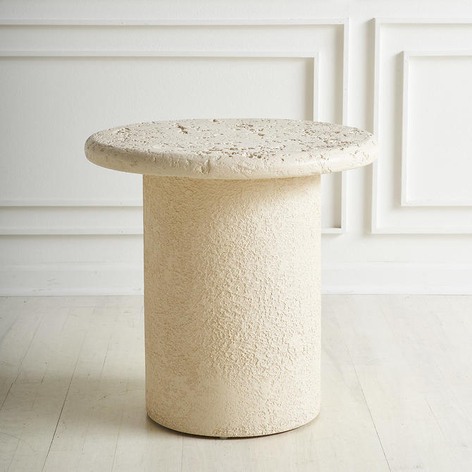 Faux Travertine Side Table