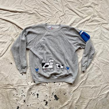 Vintage 1980s Custom Grandma Gear Hanes Heather Gray Raglan Sweatshirt by NorthGroveAntiques