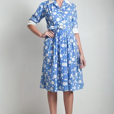 70s vintage shirtwaist dress blue white bubble print cotton belted short sleeves MEDIUM M by shoprabbithole