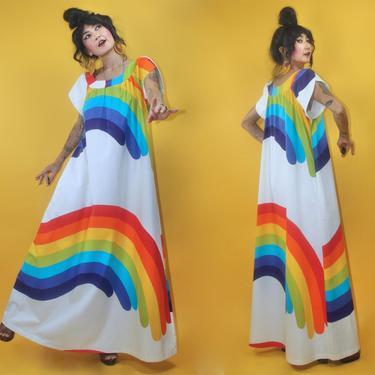Vintage 1970s OMG Groovy Rainbow Cotton Muumuu Kaftan Caftan Tiki Dress w pocket/SZ Fits All Sizes/70s Hawaiian Cotton Wearable Art Hostess by TheeAppleBoutique