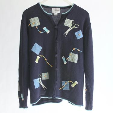 Navy Blue Cotton Blend Cardigan fits S - L Seamstress Sewing Theme by BeggarsBanquet
