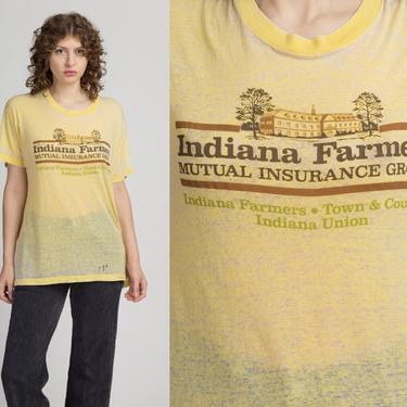 70s 80s Burnout Indian Farmers T Shirt - Men's Large   Vintage Yellow Threadbare Distressed Graphic Tee by FlyingAppleVintage