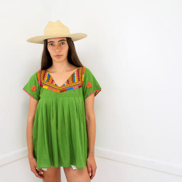 Mexican Sage Blouse // vintage 70s 1970s hand embroidered cotton green dress top shirt hippie Mexican // S/M by FenixVintage