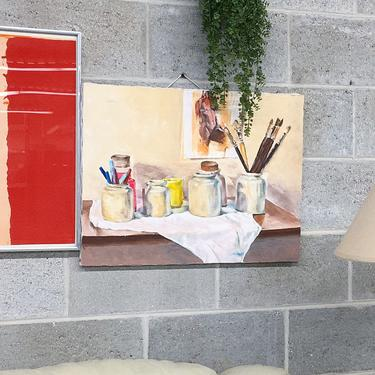 Vintage Painting 1990s Retro Size 18x24 Still Life + Nude Portrait + Paintbrushes + Acrylic + Stretched Canvas Frame + Home and Wall Deocr by RetrospectVintage215