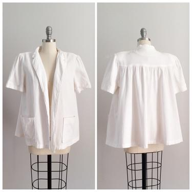 40s White Cotton Swing Beach Cover Up / 1940s Vintage 50s Jacket Duster Coat / OSFM by CheshireVintageShop