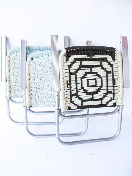 Bohemian Vintage Woven Macrame Accent Chairs with Metal Base - 3 Available - Sold Separately by PortlandRevibe