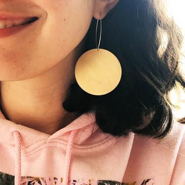 Big Brass Disc Dangles with Long Sterling Ear Wires by RachelPfefferDesigns