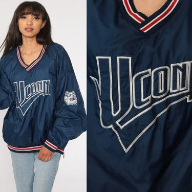 UConn Jacket 90s Connecticut University College Jacket V Neck Chalkline Pullover Windbreaker Jacket Vintage Sports 1990s Extra Large xxl by ShopExile