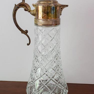 Vintage Cut Glass and Silvertone Pitcher by CapitolVintageCharm