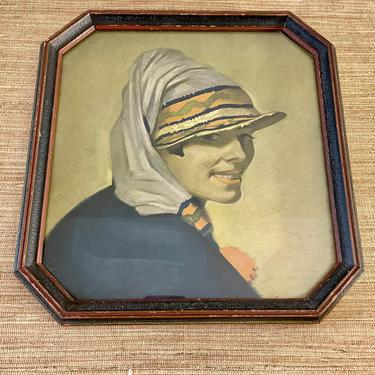 Antique Framed Art - Vintage Art - Woman's Face - Smiling Pretty Woman with Hat/Scarf - Hexagon Wood Frame - 1920s Beach Art by SoulfulVintage
