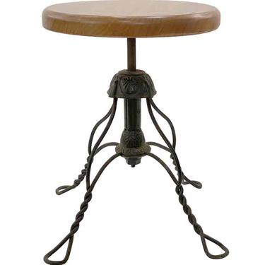 Adjustable Wrought Iron Stool with Wood Seat