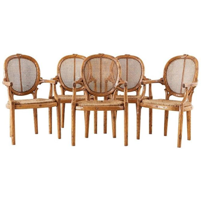 William Switzer Faux Bois Cane and Rush Seat Armchairs by ErinLaneEstate
