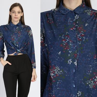70s Navy Blue Floral Button Up Blouse - Medium | Vintage Sheer Long Sleeve Collared Shirt by FlyingAppleVintage