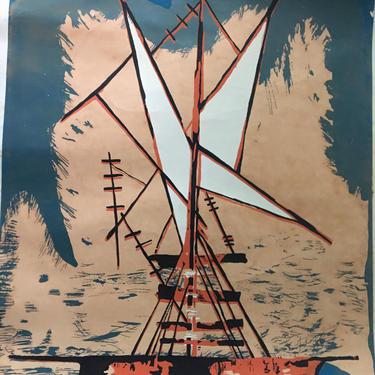 Puerto Rico Midcentury Graphic art Signed vintage serigraph by painter Manuel Hernandez Acevedo 1970 Nautical by CaribeCasualShop