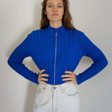 Y2K Vintage Blue Ribbed Knit Zip Front Sweater with Rhinestone Encrusted Zipper Size L XL Cardigan by backroomclothing