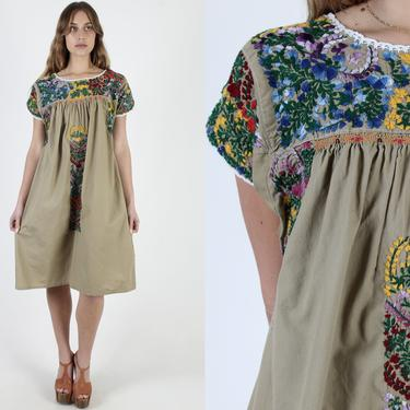 Traditional Beige Oaxacan Dress / Hand Floral Embroidered Dress / Womens Mexican San Antonio Dress / Tan Made In Mexico Midi Dress by americanarchive