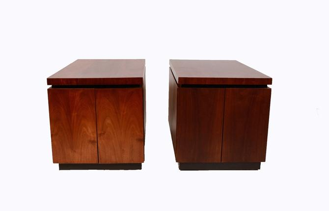 Walnut Side Tables Table Dillingham  Danish Modern 1970 Brutalist by HearthsideHome