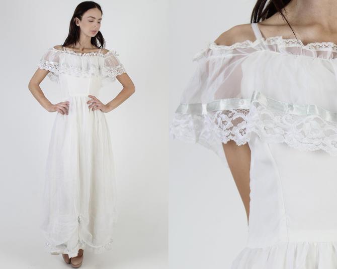 Vintage 70s Off The Shoulder Wedding Day Dress 1970s Plain White Bohemian Bridal Dress Floral Lace Prairie Long Plain Maxi Dress by americanarchive