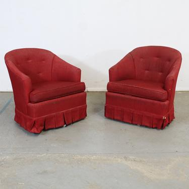 Pair of Mid-Century Modern Barrel Back Ethan Allen Swivel Club Chairs by AnnexMarketplace