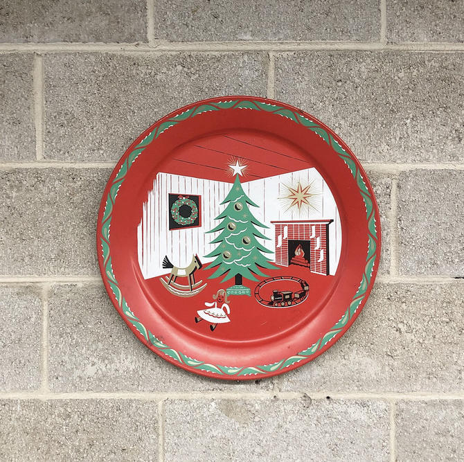 Vintage Christmas Tray Retro 1950s Metal Plate + Serving Tray + MCM + Christmas Home + Tree + Fireplace + Train + Doll + Red + Green + Decor by RetrospectVintage215
