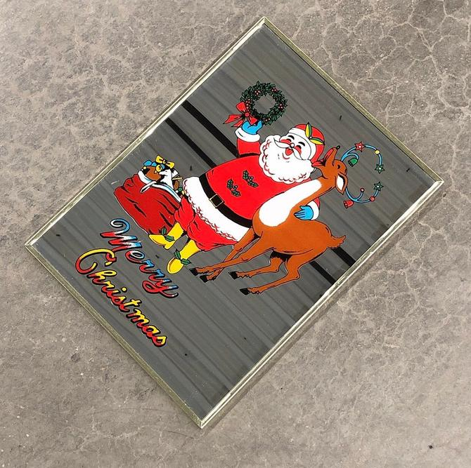 Vintage Christmas Mirror Retro 1980s Screen Print Merry Christmas Mirror + Santa Claus + Reindeer + Toys + Lights + Metal Frame + Wall Decor by RetrospectVintage215