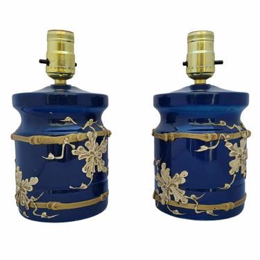 Vintage 1960s Tromp L'Oleil Ceramic Blue and White Lamps - a Pair