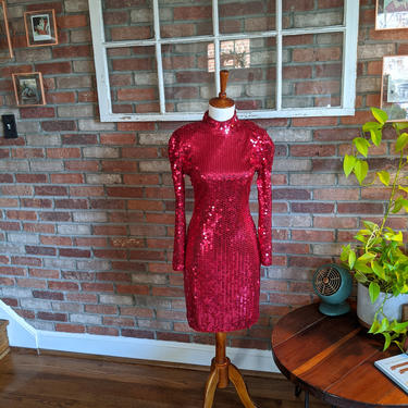 Vintage 1980's Oleg Cassini Bright Red Holiday Cocktail Sequin Party Dress by BeesKneesVintageDC