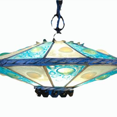 UFO Shaped Mid Century Modern Fused Glass Pendant Chandelier Space Age 1960s