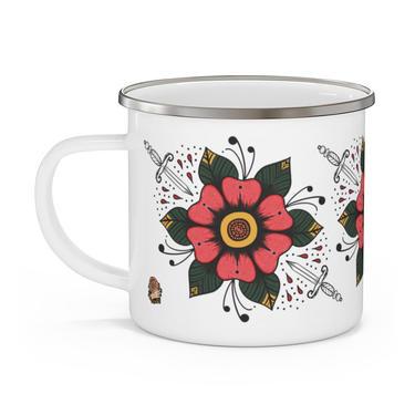 Fast Doll indoor / outdoor white enamel flower & dagger coffee or tea mug by FastDoll