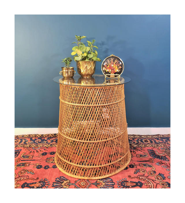 FREE SHIPPING Vintage Boho Wicker Drum Table with Glass Top | Bohemian Rattan Barrel Base | MCM Hoop Side Table by SavageCactusCo