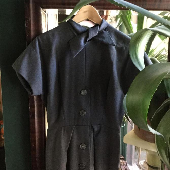 Jacques Heim Dress Haute Couture Grey Wiggle 1950s Actualité by BrainWashington
