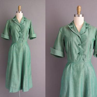 50s dress | Girl Scout Uniform green cotton dress | Small | 1950s vintage dress by simplicityisbliss