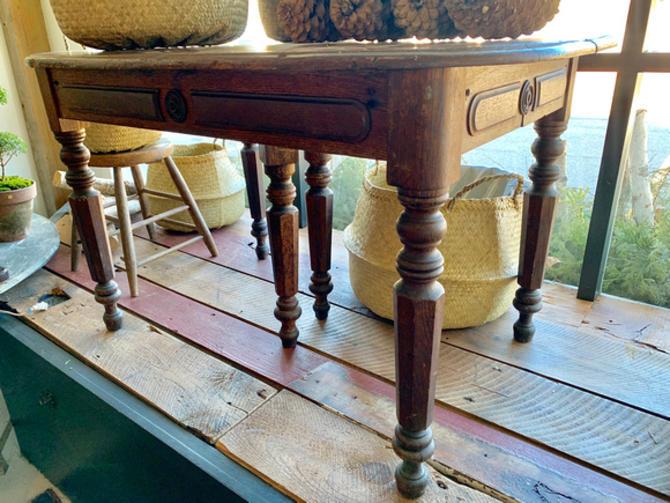 """Antique Oak Table, 46"""" l x 31"""" d x 28"""" t, $225."""