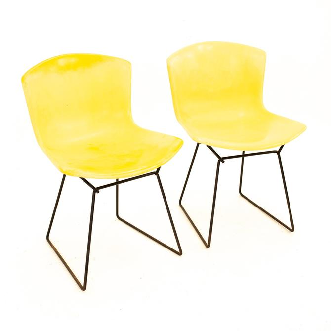 Knoll Mid Century Yellow Fiberglass Side Chair - Pair - mcm by ModernHill