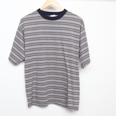 faded vintage men's striped NIRVANA 90s y2k striped t-shirt contrast color tommy style shirt - men's size medium by CairoVintage