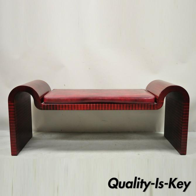 Karl Springer Red Leather Art Deco Sculptural Waterfall Bench Mid Century Modern