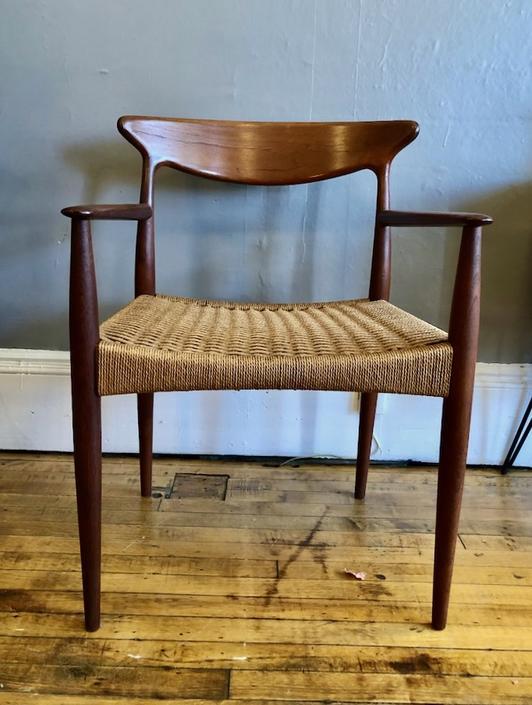 Arne Hovmand Olsen Teak Armchair w\/ rope seat 1960s Denmark