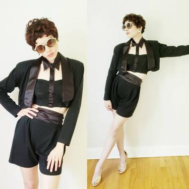 1980s Black Shorts Cropped Blazer Halter Top Ensemble / 80s I.O.U. Tuxedo Shorts Suit Set / Clotilde / Small by RareJuleVintage