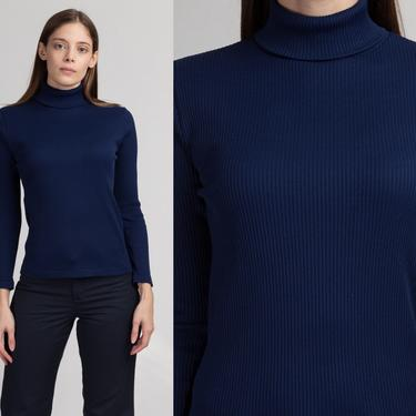 70s Navy Blue Turtleneck Top - Small   Vintage Plain Long Sleeve Ribbed Shirt by FlyingAppleVintage
