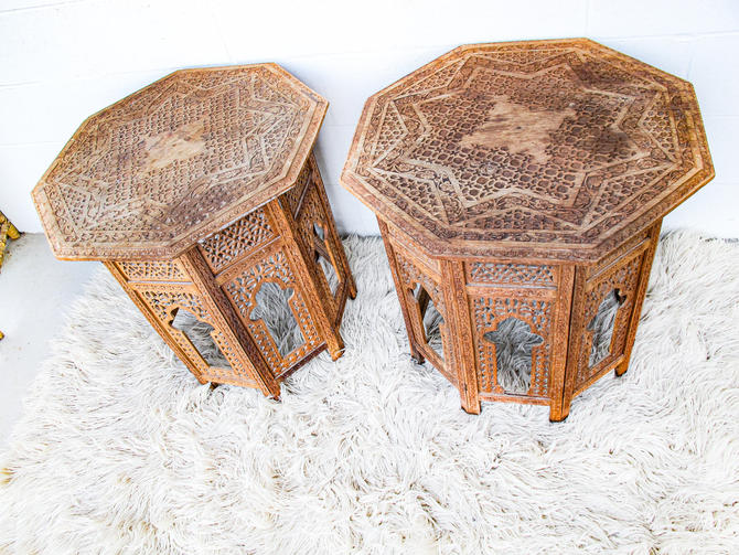 Gorgeous Hand-Carved Vintage Bohemian Solid Teak Wood Geometric Hexagon Tables (Sold Separately) by PortlandRevibe