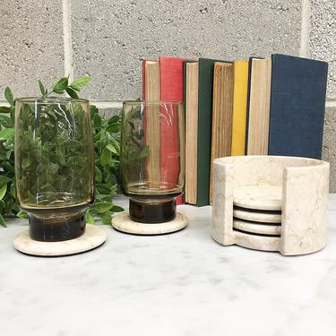 Vintage Coaster Set Retro 1990s Marble + Stone + Off White and Beige + Set of 5 + Drinking Glass Coasters + Home and Table Decor by RetrospectVintage215