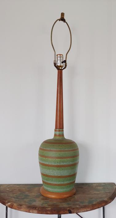 Mid Century Modern Teak and Striped Ceramic Table Lamp by ModandOzzie