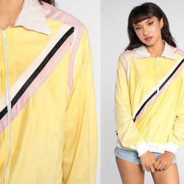 Velour Jacket Track Jacket Yellow Striped Zip Up Sweatshirt 70s Warm Up Retro Jacket Dagger Collar 1970s Long Sleeve Slouchy Medium Large by ShopExile