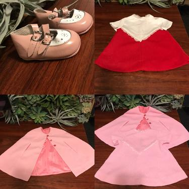 Vintage baby girls 1960s red and pink dress, cape, and shoes set by honeycombvintage