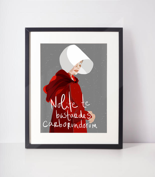 Don't let the bastards grind your down Art Print Fan Art   Cubicle decor and bossy girl mantra by VioletredStudio