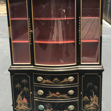 Vintage Drexel Chinese chippendale chinoiserie China cabinet by HolbrookBazaar