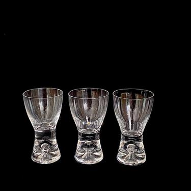 """Vintage Mid Century Modern Art Glass Glasses IITTALA Tapio Wirkkala Cordial 3 1/8"""" Tall TAPIO Design w Bubble Finland Finnish Design by SwankyChaperooo"""