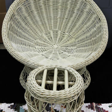 Vintage Custom made Mid Century Wicker/Rattan  Shell ~ Papasan Bowl Swivel Chair with footstool/LOCAL P/U Chicago, Il area or Your Shipper!! by WorldofWicker