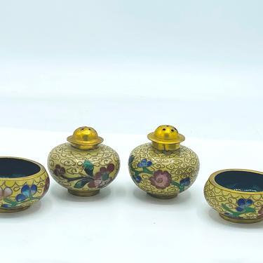 Vintage Cloisonné Enamel Brass Stacking Open Salt Bowl Cellar & Pepper Shaker Floral- Yellow by JoAnntiques